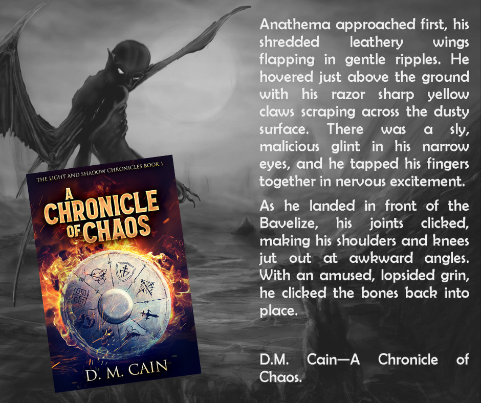 A Chronicle of Chaos by DM Cain quote and illustration poster