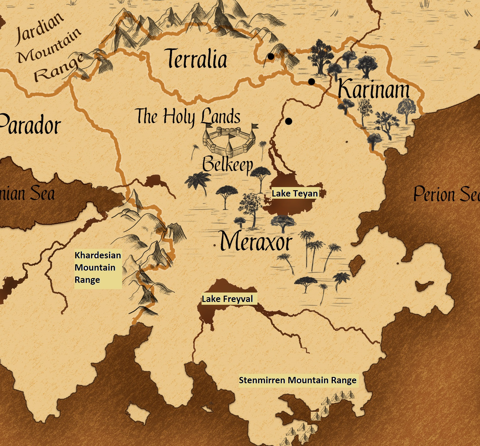Worldbuilding - Meraxor mountains and lakes