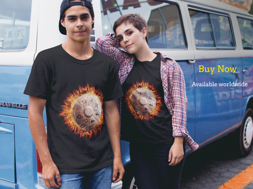 two young people modelling A Chronicle of Chaos t-shirts