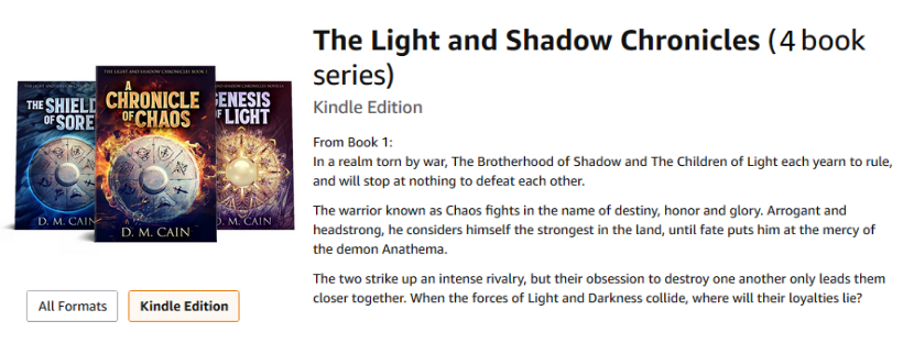 The Light and Shadow Chronicles by D.M. Cain